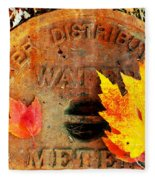 Water Meter Cover With Autumn Leaves Abstract Fleece Blanket