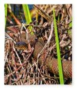 Water Snake In Hiding Fleece Blanket