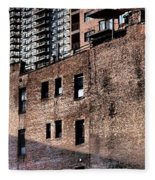 Water Tower With Cityscape Fleece Blanket