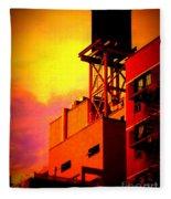 Water Tower With Orange Sunset Fleece Blanket