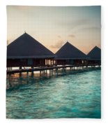 Waterbungalows At Sunset Fleece Blanket