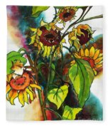 Sunflowers On The Rise Fleece Blanket