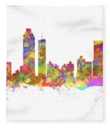 Watercolor Art Print Of The Skyline Of Atlanta Georgia Usa Fleece Blanket