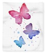 Watercolor Butterflies Fleece Blanket