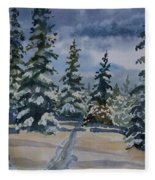 Original Watercolor - Colorado Winter Pines Fleece Blanket