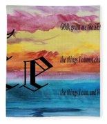 Watercolor E And Serenity Prayer Fleece Blanket