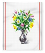 Watercolor Flowers Bouquet In Metal Pitcher Impressionism Fleece Blanket