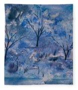Watercolor - Icy Winter Landscape Fleece Blanket