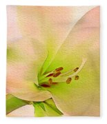 Watercolor Lily Bloom Fleece Blanket