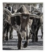 Watercolor Longhorns Fleece Blanket