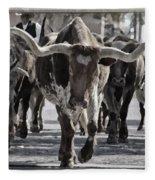 Watercolor Longhorns Fleece Blanket