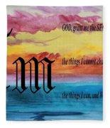 Watercolor M And Serenity Prayer Fleece Blanket
