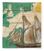 Watercolor Map 1 Fleece Blanket