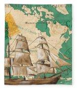 Watercolor Map 2 Fleece Blanket