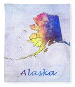 Watercolor Map Of Alaska      United States Fleece Blanket