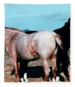 Watercolor Mustangs Fleece Blanket