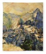 Watercolor Painting Machu Picchu Peru Fleece Blanket