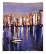 Watercolor Painting Of Vancouver Skyline Fleece Blanket
