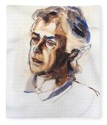 Watercolor Portrait Sketch Of A Man In Monochrome Fleece Blanket