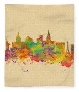 Watercolor Skyline Of Las Vegas Nevada  Usa Fleece Blanket