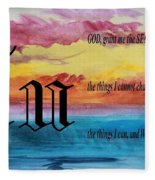 Watercolor U And Serenity Prayer Fleece Blanket