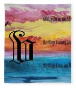 Watercolor V And Serenity Prayer Fleece Blanket