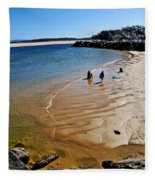 Watercolors At The Beach Fleece Blanket
