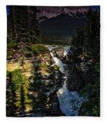 Waterfall And Mountain In Jasper Fleece Blanket