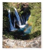 Waterfall And Rainbow 3 Fleece Blanket