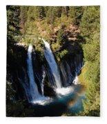 Waterfall And Rainbow Fleece Blanket