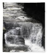 Waterfall And Rocks Fleece Blanket
