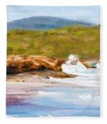 Waterfall Beach Denmark Painting Fleece Blanket