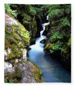 Waterfall, Glacier National Park Fleece Blanket