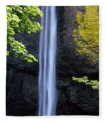 Waterfall In A Forest, Latourell Falls Fleece Blanket