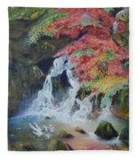 Japanese Waterfall Fleece Blanket