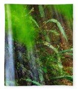 Waterfall Over Ferns Fleece Blanket