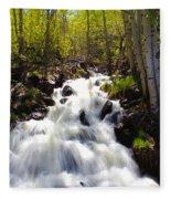 Waterfall Through The Aspens Fleece Blanket