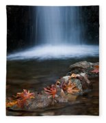 Waterfall And Leaves In Autumn Fleece Blanket