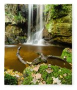 Waterfall With Autumn Leaves Fleece Blanket