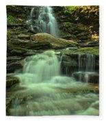 Waterfalling Through Ricketts Glen Fleece Blanket