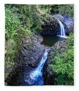 Waterfalls And Pools Maui Hawaii Fleece Blanket
