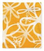 Waterflowers- Orange And White Fleece Blanket