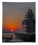 Waterfront Park Sunrise Fleece Blanket