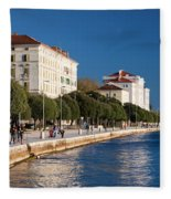 Waterfront Promenade In Zadar Fleece Blanket