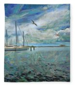 Waterfront View  Fleece Blanket