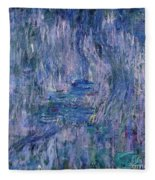 Waterlilies And Reflections Of A Willow Tree Fleece Blanket