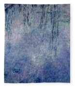 Waterlilies Two Weeping Willows Fleece Blanket