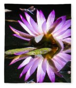 Waterlily And Dragonfly Fleece Blanket