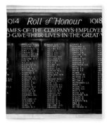 Waterloo Roll Of Honor 1914 1918 Fleece Blanket
