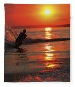 Waterskiing At Sunset Fleece Blanket